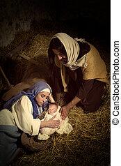 nativity 場面, 正しい, 生きている, 衣服