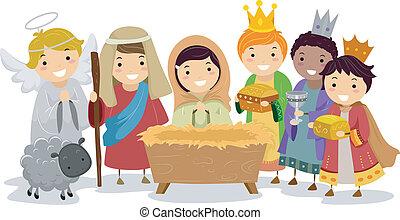 nativity, 学校の 子供, stickman, プレーしなさい