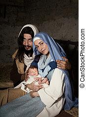 nativity, 生きている, 現場, クリスマス