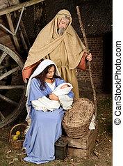 nativity, 生きている, 現場