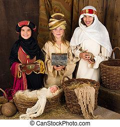 nativity, 男性, 賢い, 現場, 3