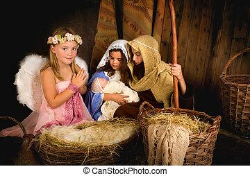 nativity, 神聖, 天使, 現場