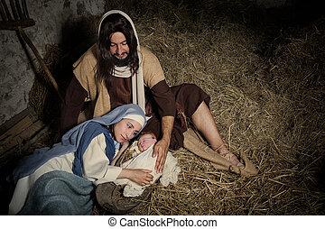 nativity, 納屋, 現場, 古い