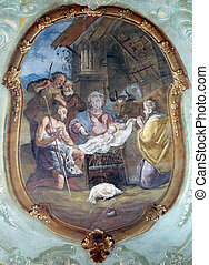 nativity, 羊飼い, 崇敬, 現場