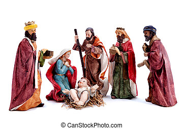 nativity, 賢い, 家族, 神聖, 隔離された, 現場, 男性, 3, 背景, 白い クリスマス