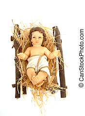 nativity, baby jesus in his crib isolated on white ...