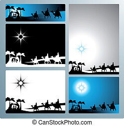 Nativity banners and letter - Illustration in different...