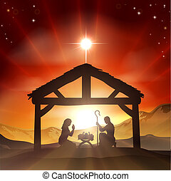 Nativity Christian Christmas Scene
