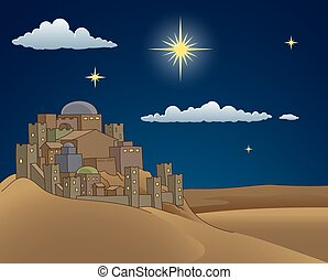 A Christmas nativity scene cartoon, with the City of Bethlehem and the star above. Christian religious illustration.