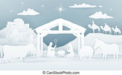 Christmas Christian Nativity Scene of baby Jesus in manger with Mary and Joseph silhouette S. Surrounded by animals and three wise men magi with city of Bethlehem in distance. vintage paper art style.