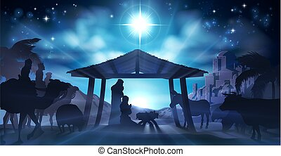 Christmas Christian Nativity Scene of baby Jesus in the manger with Mary and Joseph in silhouette surrounded by animals and the three wise men magi with the city of Bethlehem in the distance
