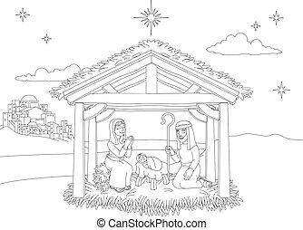 Nativity Christmas Scene Coloring Cartoon