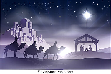 Nativity Christmas Scene - Christmas Christian nativity...