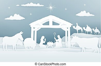 Christmas Christian Nativity Scene of baby Jesus in the manger with Mary and Joseph in silhouette. Surrounded by animals and the three wise men magi. In a vintage paper art style.