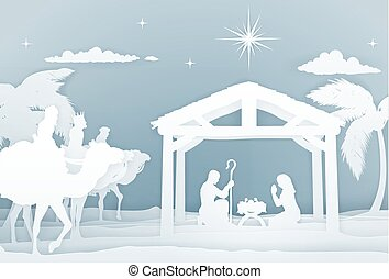 Nativity Christmas Scene Papercraft Style - Christmas...