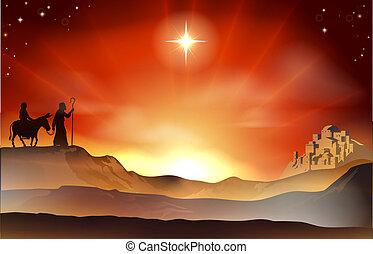 Nativity Christmas story illustrati - Mary and Joseph...