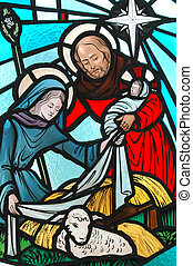 Nativity - A stained glass window of the nativity.