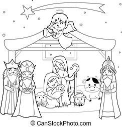 Nativity Coloring Line Art