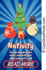 Nativity concept banner, comics isometric style