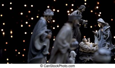 Nativity figures scene Christmas manger with lights -...