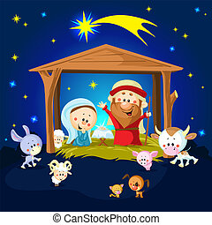 Nativity in Bethlehem with animals - Christmas vector illustration
