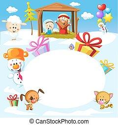 Nativity in Bethlehem with animals - Christmas vector oval frame illustration