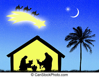 Nativity - Jesus birth in the stable to represent Christmas ...