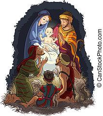 Nativity Scene with Jesus, Mary, Joseph and shepherds. Christian and Christmas theme