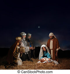 nativity, mænd, klog, jul