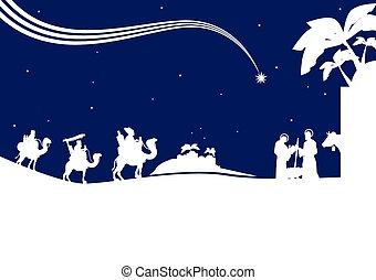 nativity, m, 賢い, 現場, 3