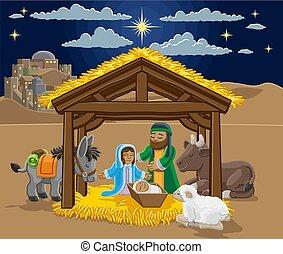 nativity scena, rysunek, boże narodzenie