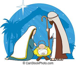 Nativity Scene - A nativity scene with the star of Bethlehem...
