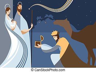 nativity scene and the three wise m