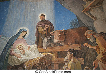 Nativity scene, Bethlehem Shepherds Field Church
