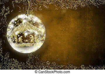 Background for writing christmas cards, freehand in gold metallic texture inside xmal ball on golden background with space for message.