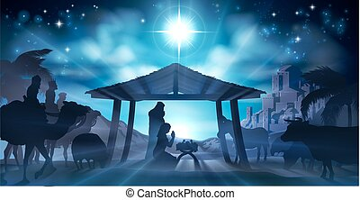 Christmas Nativity Scene of baby Jesus in the manger with Mary and Joseph in silhouette surrounded by animals and the three wise men magi. The city of Bethlehem is in the distance