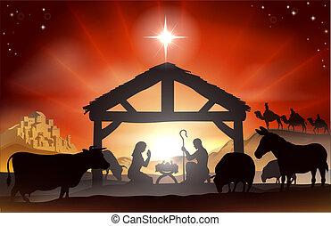 nativity, scene christmas