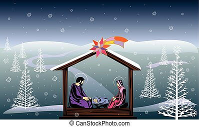 nativity scene color illustration vector eps 10