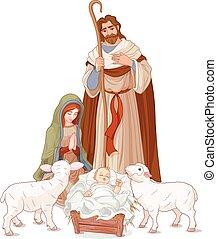 Nativity scene - Christmas nativity scene with Mary, Joseph...