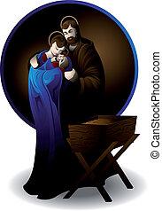 nativity scene - Illustration of the nativity scene,...