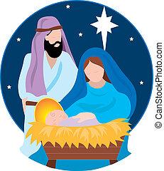 Nativity Scene with Mary,Joseph and the Baby Jesus