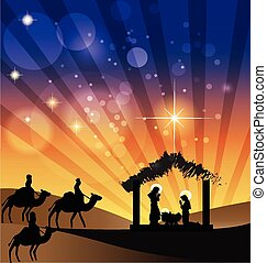 Nativity scene Family holy and Kings arriving to Bethlehem icon background