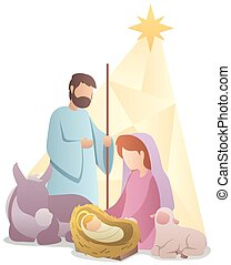 Nativity Scene Flat Design