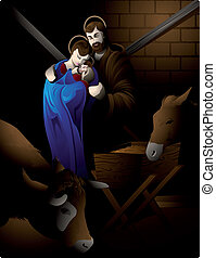 Nativity scene. - Illustration of the nativity scene with...