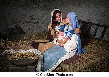Nativity scene in a barn