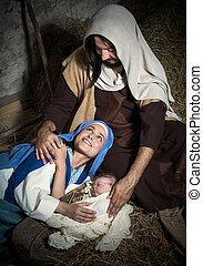 Nativity scene in a stable