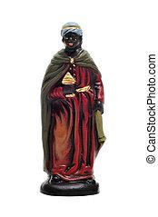 nativity scene - figure representing Balthasar Magi in a...