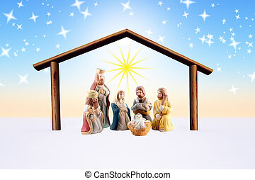 nativity scene - illustration of the nativity scene