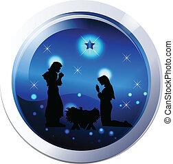 Nativity scene silhouette vector