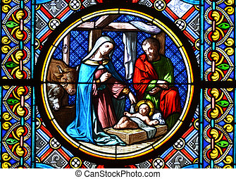 Nativity Scene. Stained glass window